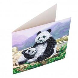 Carte broderie diamant 18x18cm Pandas