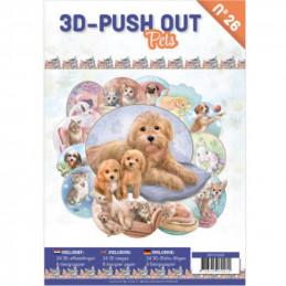 Carte 3D livre A4 prédécoupé - Chiens et chats  24 images + papiers