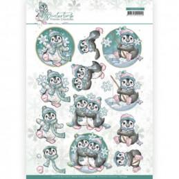 Carte 3D à découper - CD11574 - Winter time - Pingouins