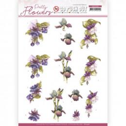 Carte 3D prédéc. - SB10498 - Pretty flowers - Fleurs violettes