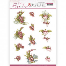 Carte 3D prédéc. - SB10499 - Pretty flowers - Fleurs rouges