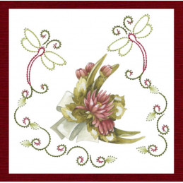 Stitch and do 146 - kit Carte 3D broderie - Fleurs rouges