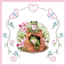 Stitch and do 148 - kit Carte 3D broderie - Grenouilles