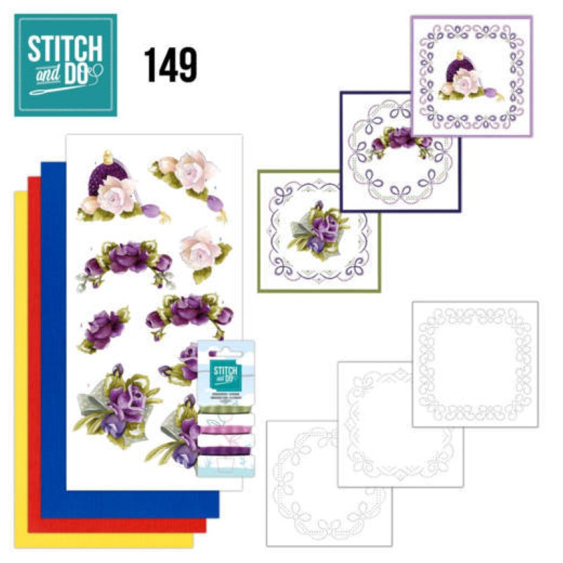 Stitch and do 149 - kit Carte 3D broderie - Roses romantiques