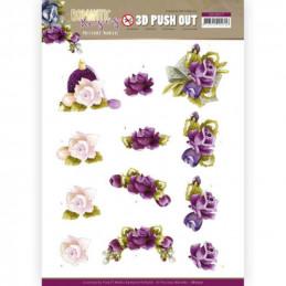 Carte 3D prédéc. - SB10517 - Romantic roses - Fleurs mauves