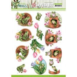 Carte 3D prédéc. - SB10526 - Friendly frogs - Grenouilles de fleurs
