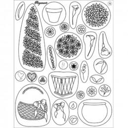 Tampon Clear Stamps Pergamano - Fleurs et Pots (41915)