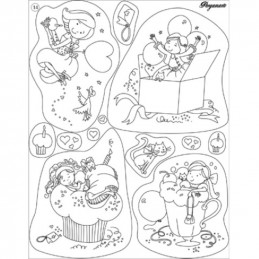 Tampon Clear Stamps Pergamano - Anniversaire Fille (41914)