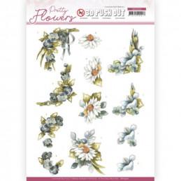 Carte 3D prédéc. - SB10500 - Pretty flowers - Fleurs bleues