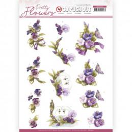 Carte 3D prédéc. - SB10501 - Pretty flowers - Fleurs et cygnes