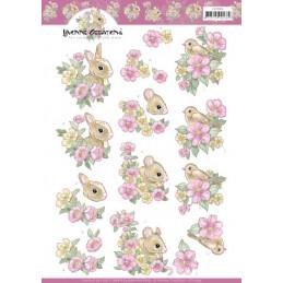 Carte 3D à découper - CD11599 - Fleurs roses et petits animaux