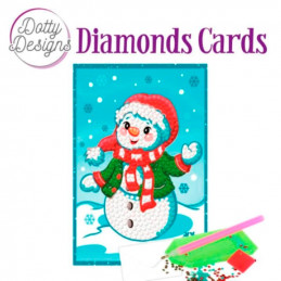 Dotty design Carte Broderie Diamant - Bonhomme de neige