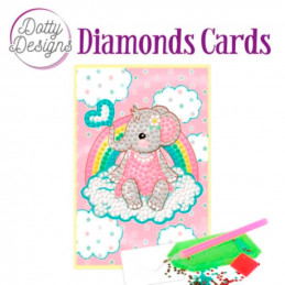 Dotty design Carte Broderie Diamant - Bébé éléphant rose