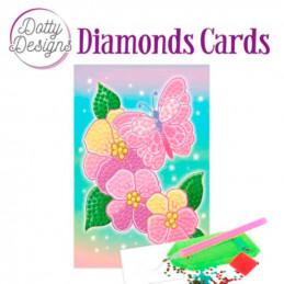 Dotty design Carte Broderie Diamant - Fleurs et papillons