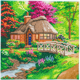 Broderie diamant Kit tableau 30x30cm Cottage