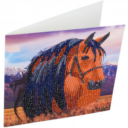 Kit Carte broderie diamant 18x18cm Cheval