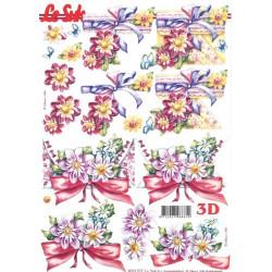 Carte 3D à découper -  bouquet de fleurs