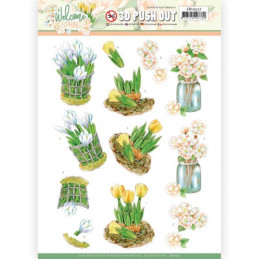 Carte 3D prédéc. - SB10527 - Welcome spring - Tulipes jaunes
