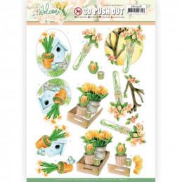 Carte 3D prédéc. - SB10528 - Welcome spring - Tulipes oranges