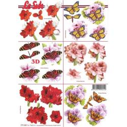 Carte 3D à découper -  fleurs et papillons