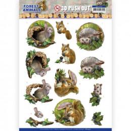Carte 3D prédéc. - SB10537 - Forest animals - Lapin écureuil et hérisson