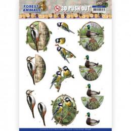 Carte 3D prédéc. - SB10538 - Forest animals - Pic vert canard et mésange