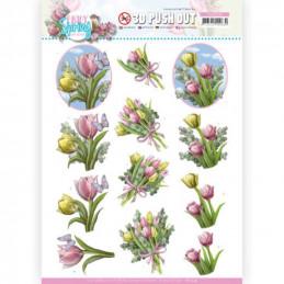 Carte 3D prédéc. - SB10539 - Enjoy spring - Bouquet de tulipes
