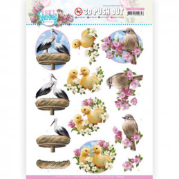 Carte 3D prédéc. - SB10540 - Enjoy spring - Cigogne canetons et oiseaux