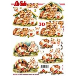 Carte 3D à découper -  hamsters