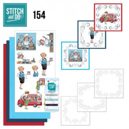 Stitch and do 154 - kit Carte 3D broderie - Professions des filles pétillantes