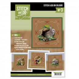 Stitch and Do on Colour 003 - Kit Carte 3D à broder de couleur Animaux de la forêt