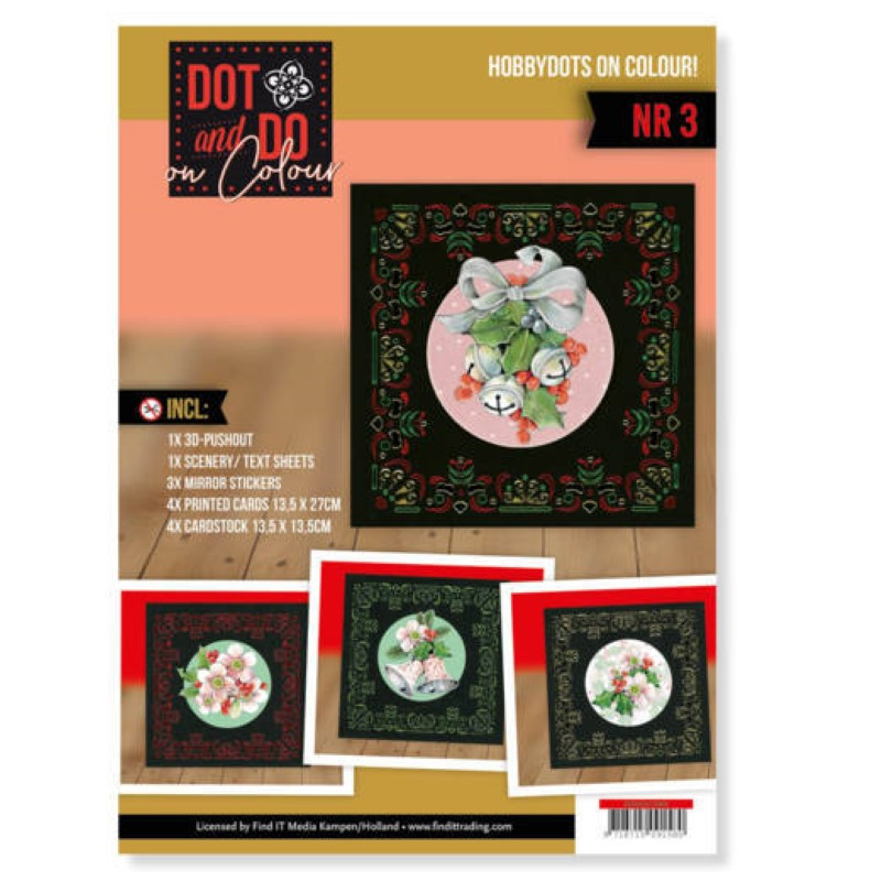 Dot and Do on Colour 3 - Kit Carte 3D - Fleurs rose de Noël