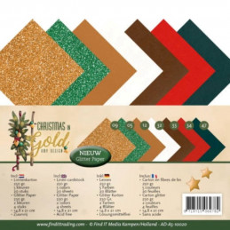 Set 24 feuilles  Amy Design - Christmas in gold A5 14.8 x 21 cm