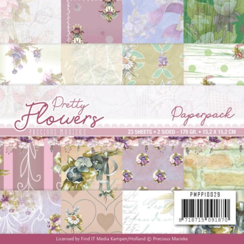 Bloc de papier - Precious marieke - Pretty flowers 15.2 x 15.2 cm