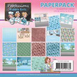 Bloc de papier - Yvonne Créations - Professions Bubbly girls 15 x 15 cm - YCPP10038