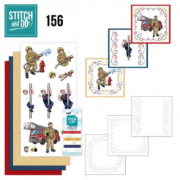Stitch and do 156 - kit Carte 3D broderie - Les pompiers