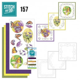 Stitch and do 157 - kit Carte 3D broderie - Les papillons