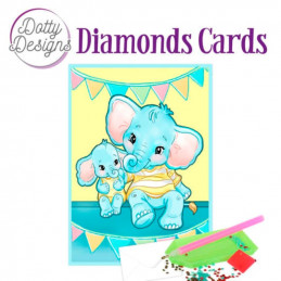 Dotty design Carte Broderie Diamant -  Elephants
