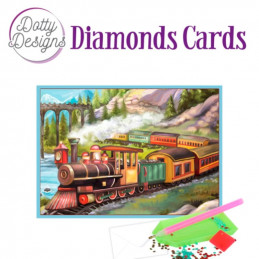 Dotty design Carte Broderie Diamant -  Vintage Trains