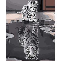 Broderie Diamant - Chien et Reflet de Loup 40X50cm