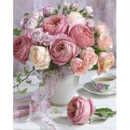 Broderie Diamant -  Bouquet de Roses 40X50cm