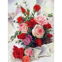 Broderie Diamant - Roses Belles Fleurs 40X50cm