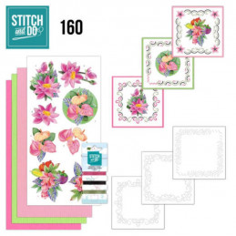 Stitch and do 160 - kit Carte 3D broderie - Fleurs exotiques