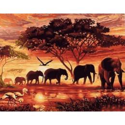 Peinture par numéro : Eléphants au Coucher du soleil 40X50cm