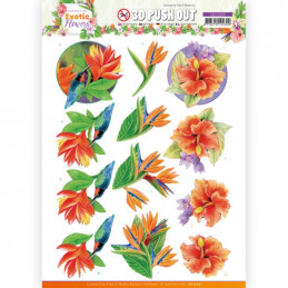 Carte 3D prédéc. - SB10569- Exotic Flowers - Blue Flowers