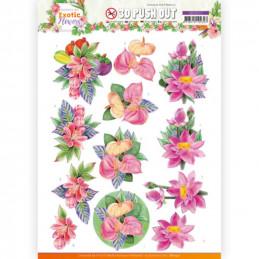 Carte 3D prédéc. - SB10571- Exotic Flowers - Pink Flowers