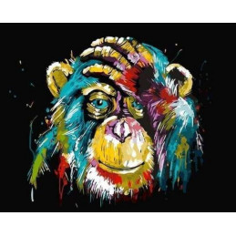 Peinture par numéro : Chimpanzé Pop Art 40X50cm