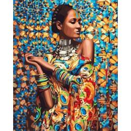 Peinture par numéro : Femme en Habits traditionnels 40X50cm