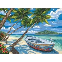 Peinture par numéro : Barque sous les Cocotiers 40X50cm