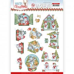 Carte 3D prédéc. - SB10578-  Wintry Christmas - Christmas Home